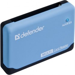 Картридер AII in 1, USB 2.0 (Defender ULTRA 83500) (черно-голубой)